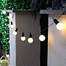 KEEDA Solar Powered Frosted Festoon Bulb String