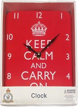 Keep Calm Square Clock - Keep Calm And Carry On Red