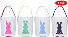 KEFAN 4 Pack Easter Baskets Cotton Canvas Easter