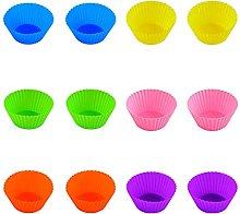 Keifen Baking Cups,12 Packs Silicone Baking Cups