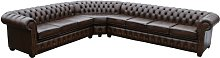 Keila Chesterfield Leather Corner Sofa Marlow Home