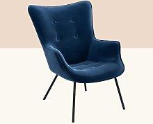 Keira Armchair Hykkon Upholstery Colour: Navy Blue