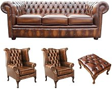 Keiran Chesterfield 4 Piece Leather Sofa Set
