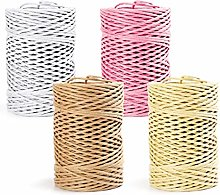 Keleily 4 Rolls Colored Raffia Paper Ribbon with