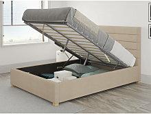 Kelly Ottoman Upholstered Bed, Kimiyo Linen, Beige