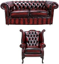 Kellyville Chesterfield 2 Piece Leather Sofa Set