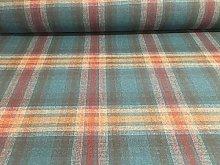 Kelso Teal/Orange Plaid Check Wool Blend 140cm