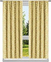 Kelvin Woven Branches Window Curtain Set, Butter