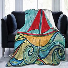 KENDIA Throw Flannel Blanket, Teal Red Earth