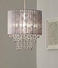 Kendra Silver Grey Pendant Light Shade with Silver