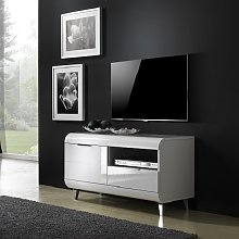Kenia Small TV Stand In White High Gloss With