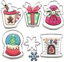 KENIAO Christmas Cookie Cutter Set - 6 Piece -