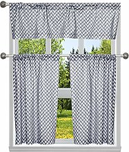 Kensie Printed Window Curtain Set, Navy, 40x84