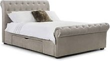 Kenton Fabric Storage King Size Bed In Mink