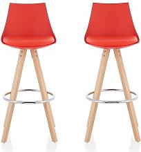 Kenzie Bar Stools In Red Faux Leather Seat Pad In