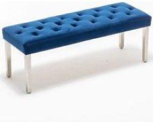 Kepro Velvet Upholstered Dining Bench In Blue