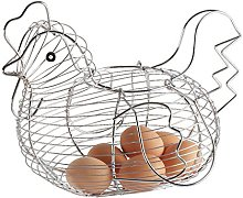Keraiz Chrome Plated Chicken Hen Shaped Wire Egg