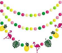 Kerien 3 Pieces Hawaii Summer Hanging Pompom Ball
