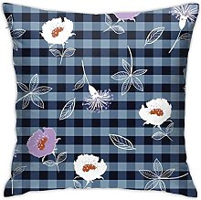 KEROTA Blue Checked with Flower Decorative Throw