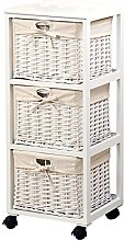 Kesper Basket shelf of Paulowina-Wood in white, 31