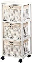 Kesper Basket shelf of Paulowina-Wood in white, 31