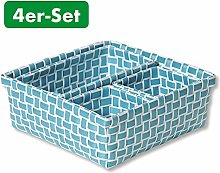Kesper Bathroom Baskets Set of 4 Light Blue, 23 x
