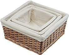 Kesper Bread Basket with Linen Lining, 23 x 23 x