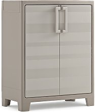 Keter Low Storage Cabinet Gulliver Beige and Brown