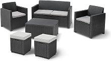 Keter Merano 6 Seater Rattan Effect Sofa Set -