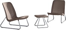 Keter Patio Furniture Set 3 Pieces Rio Cappuccino