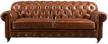 Khalil Leather 4 Seater Chesterfield Sofa
