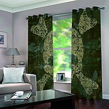 KHGAHD Blackout Curtain 3D Army Green Skull
