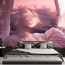KHKJ Pink Moon and Cloud tapestry Mandala Tapestry
