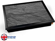 KICO Black Slate Marble Print Cushioned Lap tray