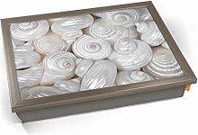 KICO Sea Shells Macro White Cushioned Bean Bag