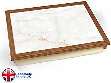 KICO White Amber Marble Print Cushioned Lap tray