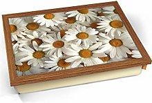 KICO White Daisy Daisies Flowers Cushioned Bean