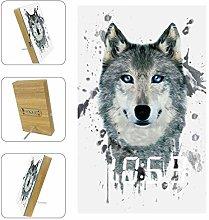 Kids Alarm Clock Watercolor Gray Wolf Head Digital