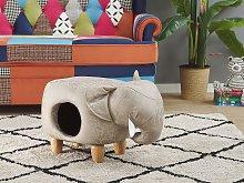 Kids Animal Stool Grey Fabric Leather-Like