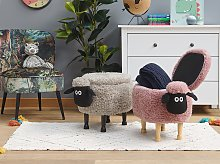 Kids Animal Stool Pink Faux Fur Footstool with