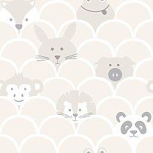 Kids Animals Peek a Boo Playroom Wallpaper -