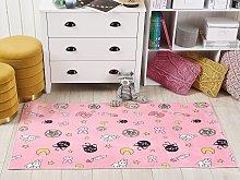 Kids Area Rug Pink Polyester Cartoon Pattern Floor