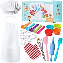 Kids Baking Set 32 Pcs Includes Kids Apron, Chef