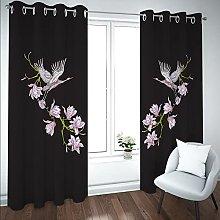 Kids Blackout Curtains Cranes animals flowering