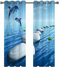 Kids Blackout Curtains Dolphins rocks in the water