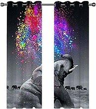 Kids Blackout Curtains Elephant animal color