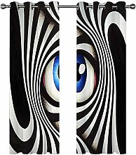 Kids Blackout Curtains Eyes black and white spiral