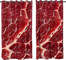 Kids Blackout Curtains for Bedroom Fresh beef 3D