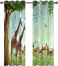 Kids Blackout Curtains Giraffe animal cartoon