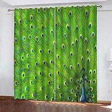 Kids Blackout Curtains Green peacock animal